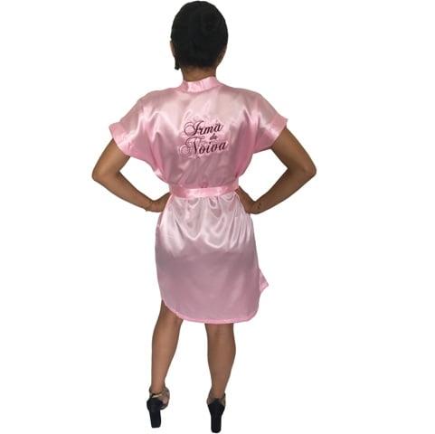 Robe de Cetim Feminino Bordado Personalizado  Irmã da Noiva