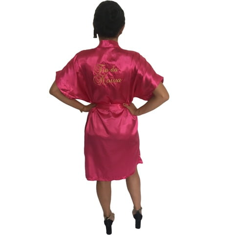 Robe de Cetim Feminino Bordado Personalizado Tia da Noiva