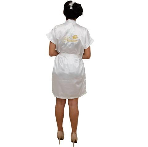 Robe Cetim Feminino Branco Bordado Personalizado Noiva com Mini Coroa