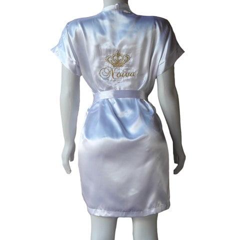 Robe Cetim Feminino Roupão Robi Branco Bordado Noiva com Coroa Dourado