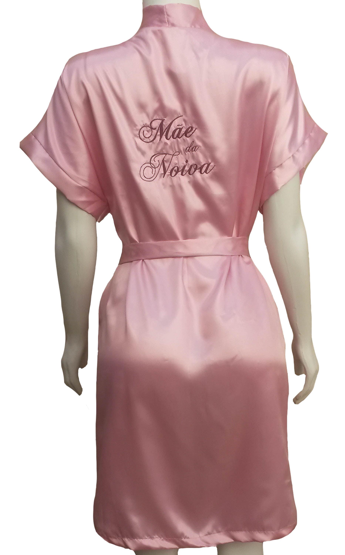 Robe de Cetim quimono Bordado Personalizado Mãe da Noiva