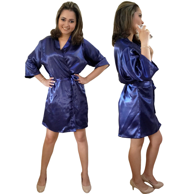 Robe de Cetim Feminino Manga 3/4 Cor Azul Marinho