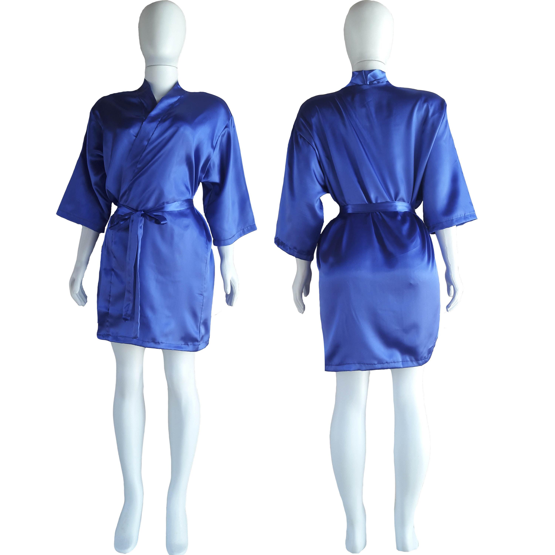 Robe de Cetim Feminino Manga 3/4 Cor Azul Royal