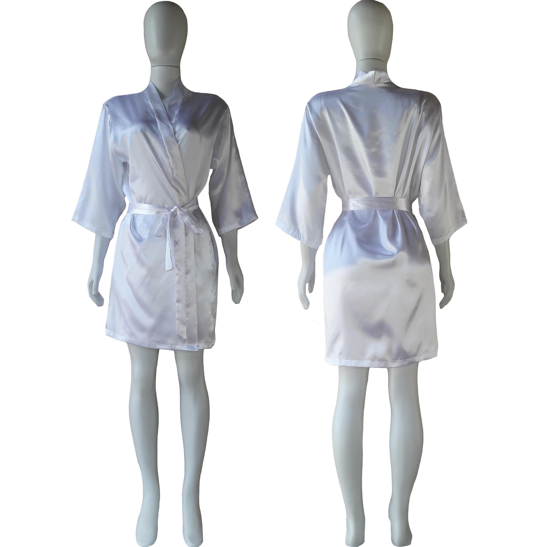 Robe de Cetim Feminino Manga 3/4 Cor Branco