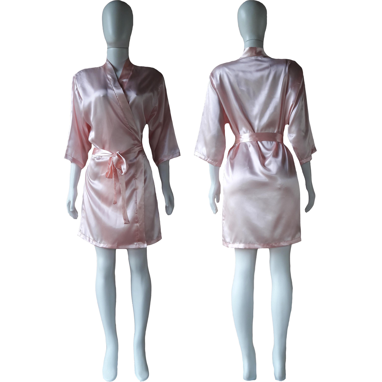 Robe de Cetim Feminino Manga 3/4 Cor  Rosa Bebê