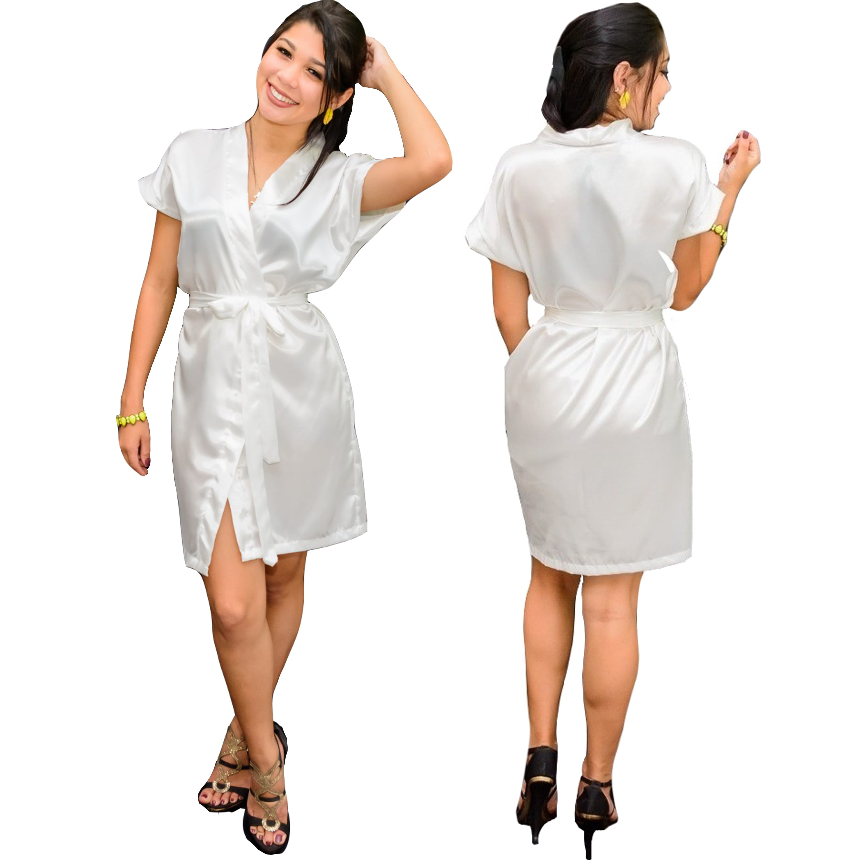 Robe de Cetim Com Elastano Manga Curta Feminino  Cor Branco