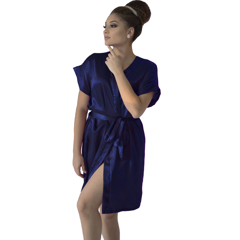 Robe de Cetim Feminino Normal Cor Azul Marinho