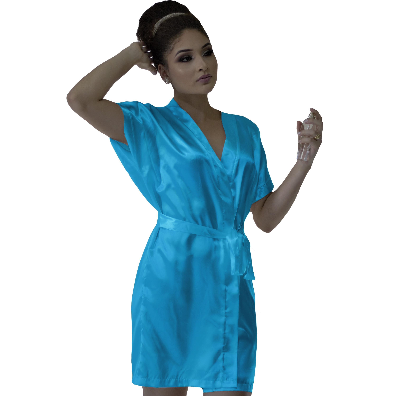 Robe de Cetim Feminino Noiva Casamento Debutante Cor Azul Tiffany