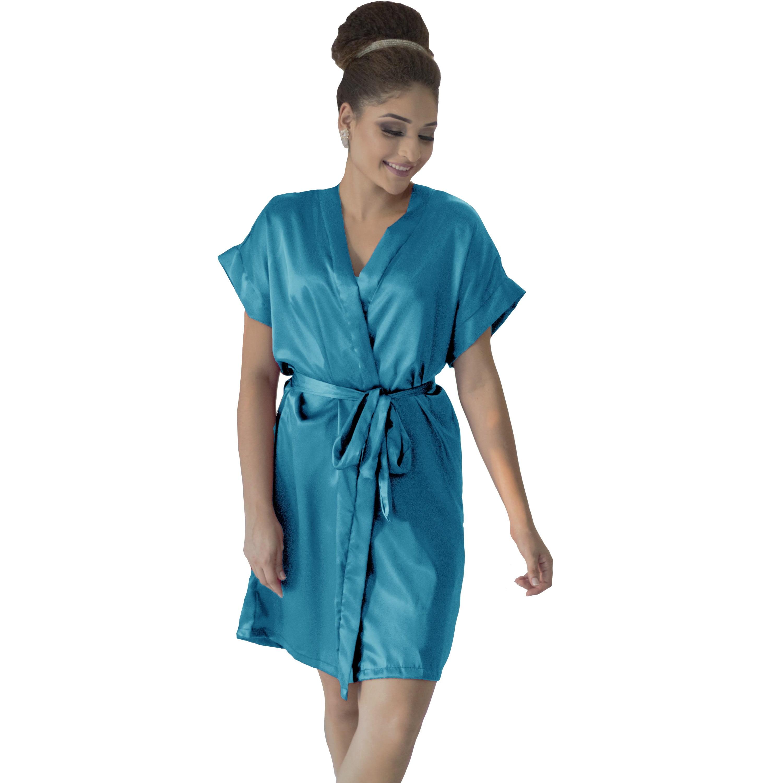 Robe de Cetim Feminino Normal Cor Azul Turquesa