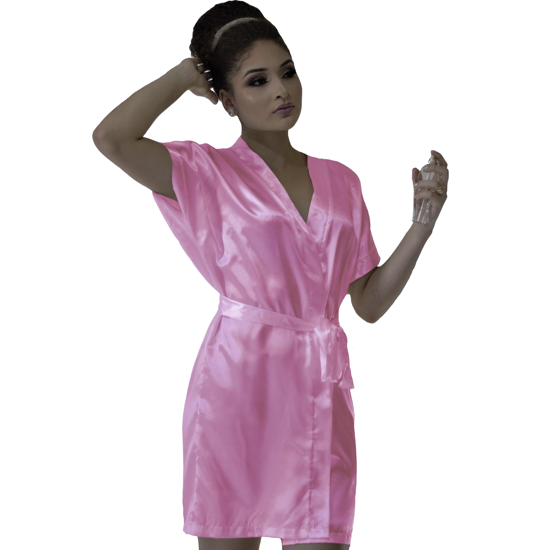 Robe de Cetim Feminino Normal Cor Chiclete Claro