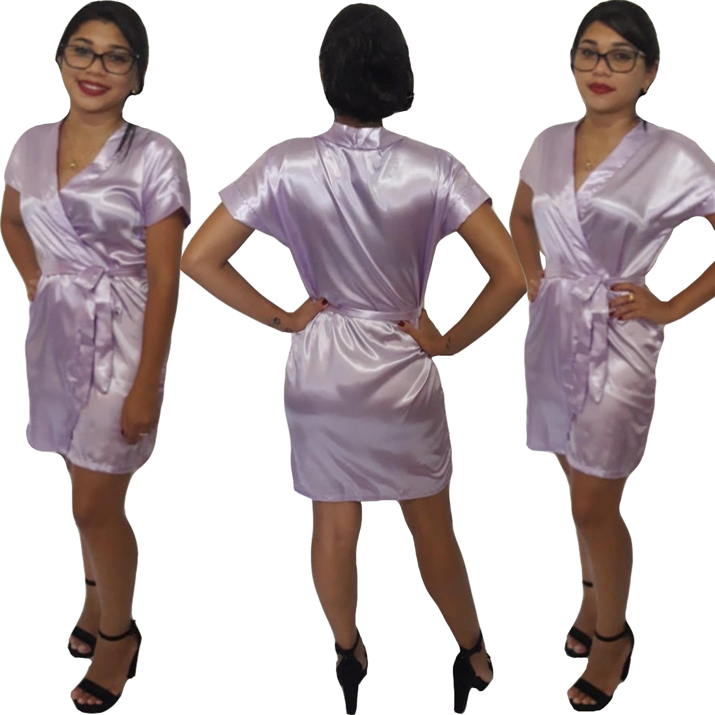 Robe de Cetim Feminino Normal Cor Lavanda
