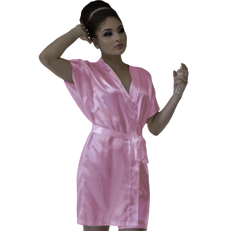 Robe de Cetim Feminino Normal Cor Rosa Bebê Escuro