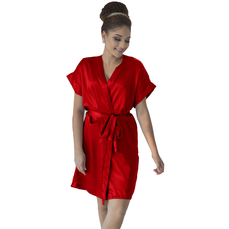 Robe de Cetim Feminino Normal Cor  Vermelho