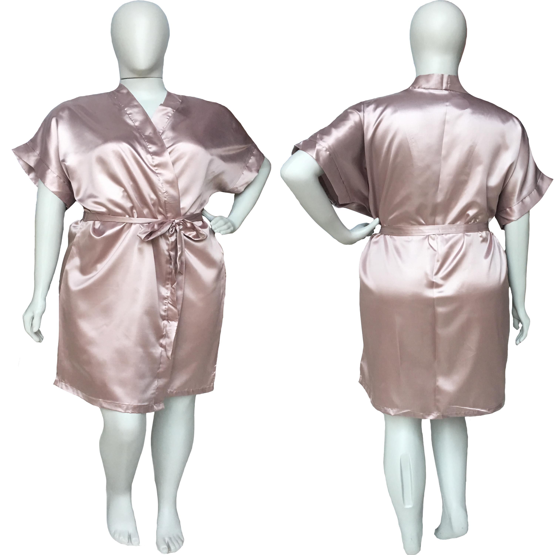Robe de Cetim Feminino Plus Size 48 50 52 e 54 Old Rose