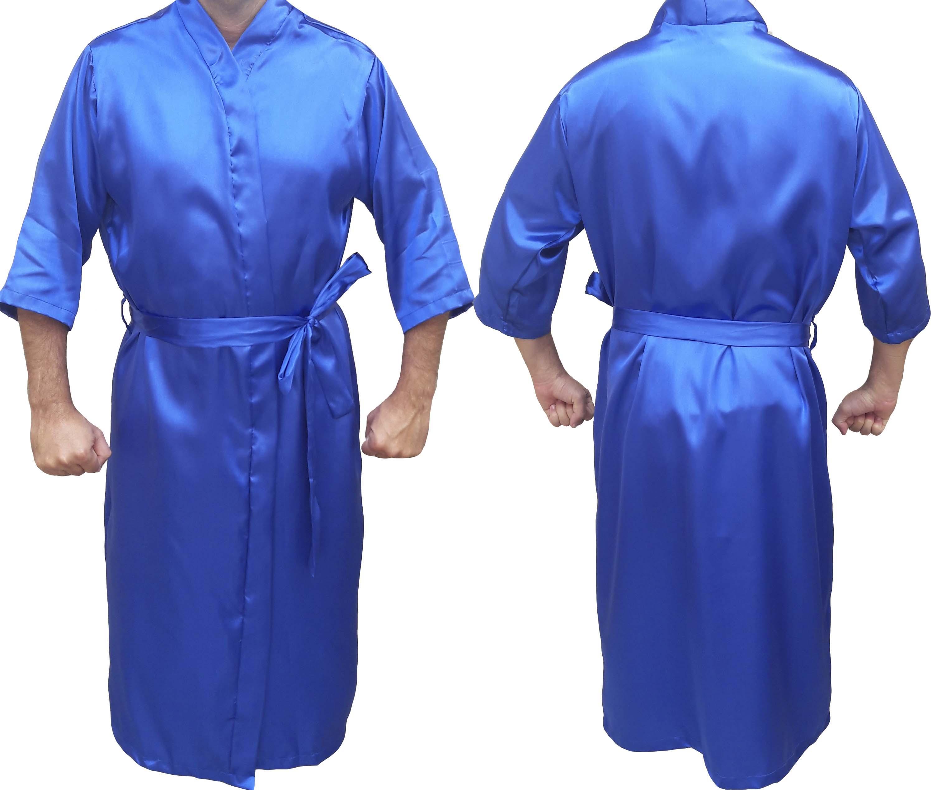 Robe Roupão de Cetim Masculino Manga 3/4 Quimono Azul Royal