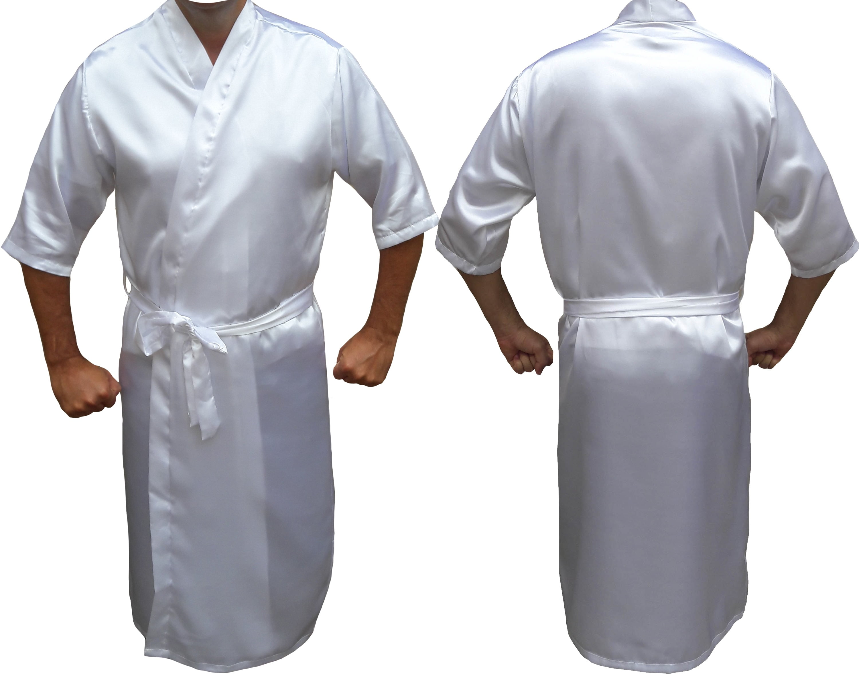 Robe Roupão de Cetim Masculino Manga 3/4 Quimono Branco