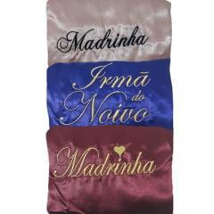 Kit c/10 Robe de Cetim Feminino Bordado Personalizado Madrinha e Noiva Mãe da Noiva