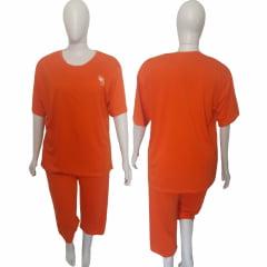Pijama Pescador Feminino Lingerie de  Malha  Plus Size