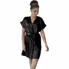 Robe de Cetim Com Elastano  Feminino Normal Cor Preto