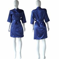 Robe de Cetim Com Elastano Feminino Manga 3/4 Cor Azul Marinho