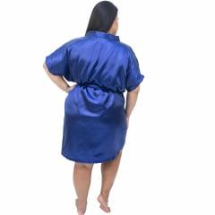 Robe Feminino Roupão Plus Size De Cetim Com Elastano 48 50 52 e 54 Azul Marinho