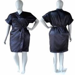 Robe de Cetim Com Elastano Feminino Plus Size 48 50 52 e 54 Preto