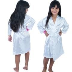 Robe Infantil Feminino Roupão  de Cetim Com Elastano Manga Longa Branco