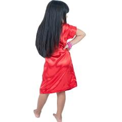 Robe Infantil Feminino Roupão de Cetim com Elastano Daminha Vermelho