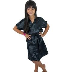 Robe Infantil Feminino Roupão de Cetim  Daminha Preto