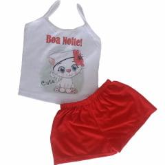 Baby Doll Short Doll de Malha Infantil Alça Fina Sublimado