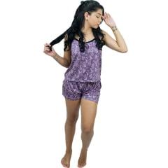 Baby Doll Short Doll de Liganete Adulto Feminino Alça Fina com Regulador