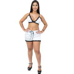Conjunto Short Doll Com Top de Cetim Com Elastano Branco