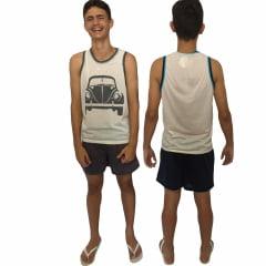 Pijama Masculino Camiseta de Malha Adulto