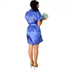 Robe de Cetim Roupão Feminino Bordado Personalizado Debutante Monograma