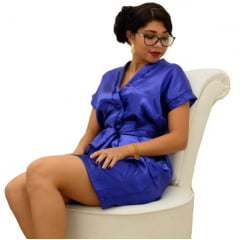 Robe de Cetim Feminino Azul Royal Bordado Personalizado Debutante Monograma 15