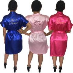 Kit c/15 Robe de Cetim Feminino Bordado Personalizado Madrinha e Noiva Mãe da Noiva
