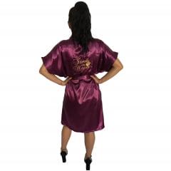 Robe Cetim Feminino Bordado Personalizado Irmã da Noiva com Mini Coroa