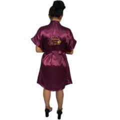 Robe de Cetim Feminino Bordado Personalizado  Irmã da Noiva com Mini Coroa