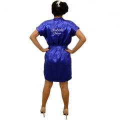Robe Cetim Feminino Bordado Personalizado Madrinha e Nome