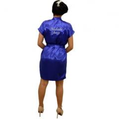 Robe de Cetim Feminino Bordado Personalizado Madrinha e Nome
