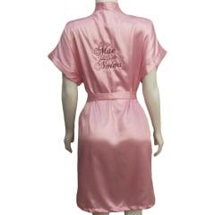 Robe de Cetim Feminino Bordado Personalizado Mãe da Noiva