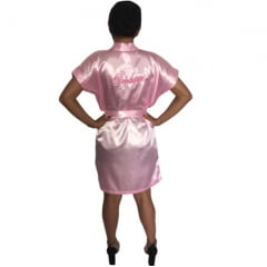 Robe de Cetim Feminino Rosa Bebê Bordado Personalizado Debutante