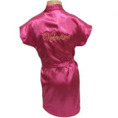Robe Infantil de Cetim Roupão Feminino Bordado Personalizado Nomes