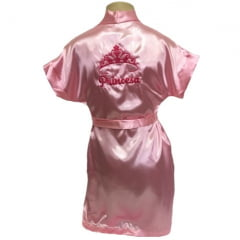 Robe Infantil de Cetim Roupão Feminino Bordado Personalizado Princesa com Coroa