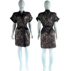 Robe de Cetim Feminino Estampado Onça Escura