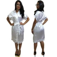 Robe de Cetim Feminino Com Renda Manga e Bainha Branco Cod.450