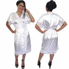 Robe de Cetim Feminino Com Renda Manga e Bainha Pala Completo Branco Cod.457