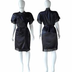 Robe de Cetim Feminino Com Renda Manga e Bainha Pala Completo Preto Cod.458
