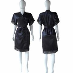 Robe de Cetim Feminino Com Renda Manga e Bainha Preto Cod.454