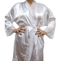 Robe de Cetim Feminino Manga 3/4 Cor Com Renda Manga e Bainha Pala Completo Branco
